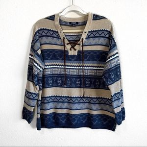 Chaps Striped Lace Up Southwestern Sweater